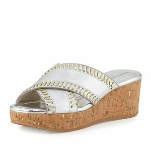 DONALD J. PLINER  Silver Cork Wedge Sandals